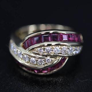K18 ルビー ダイヤモンド デザイン リング(リング(指輪))