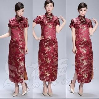 (6XLサイズ)梅刺繍チャイナドレス コスプレ メンズ 女装可(その他ドレス)