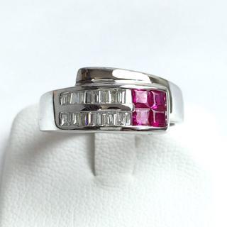 K18 WG ルビー× ダイヤモンド プラチナリング 20号 新品仕上げ済み(リング(指輪))