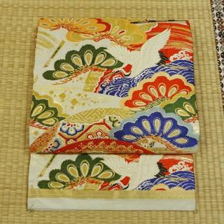アイボリーに鶴や花々 アンティーク丸帯(帯)