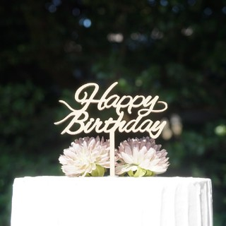 ファミリア(familiar)のケーキトッパー HAPPYBIRTHDAY 誕生日 飾り 木製(その他)