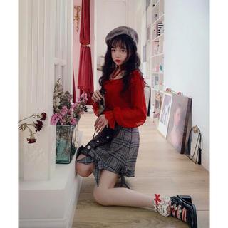 ボボンニジュウイチ(Bobon21)のbobon21 チェック柄裾リボンAラインスカート (ミニスカート)