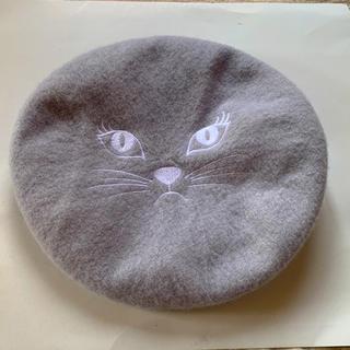 ウィゴー(WEGO)の猫刺繍 ベレー帽(ハンチング/ベレー帽)