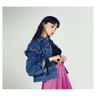 ジーユー(GU)の【完売商品】デニムフリルジャケット XL オーバーサイズ(Gジャン/デニムジャケット)