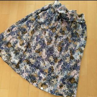 シマムラ(しまむら)のリボン付き 花柄スカート ブルー(ひざ丈スカート)