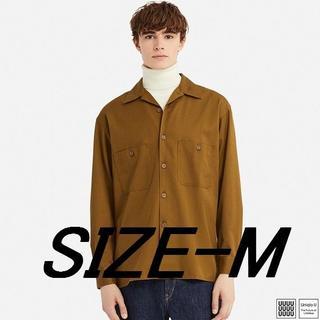 ユニクロ(UNIQLO)の【新品】Uniqlo-U オープンカラーシャツ(長袖)ブラウンM(シャツ)