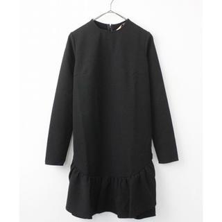 ヌメロヴェントゥーノ(N°21)の定価11万 ヌメロヴェントゥーノ ブラック 異素材ワンピース 38(ひざ丈ワンピース)