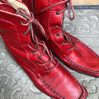 バークレー(BARCLAY)のbarclay 赤 編み込み ショートブーツ(ブーツ)