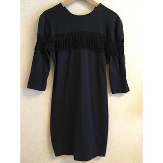 デプト(DEPT)のUS vintage フリンジ付 長袖ドレス/ワンピースhookedeptoga(ひざ丈ワンピース)