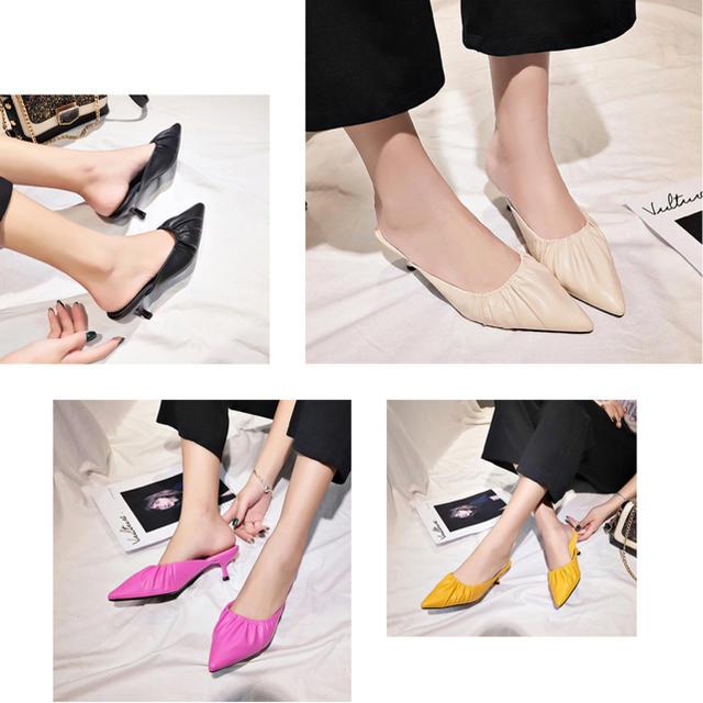 ミュール パンプス サンダル ポインテッドトゥ ローヒール 靴 サマー 春夏  レディースの靴/シューズ(サンダル)の商品写真
