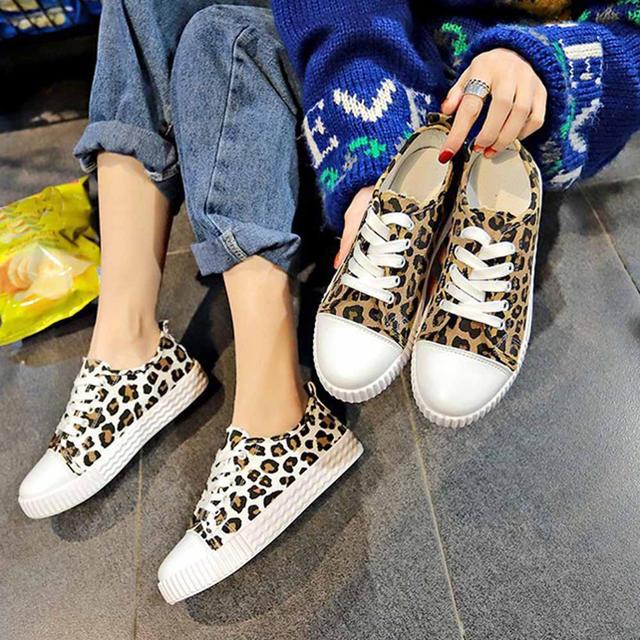 スニーカー  レオパード柄 靴 ローカット レースアップ フラット 歩きやすい レディースの靴/シューズ(スニーカー)の商品写真
