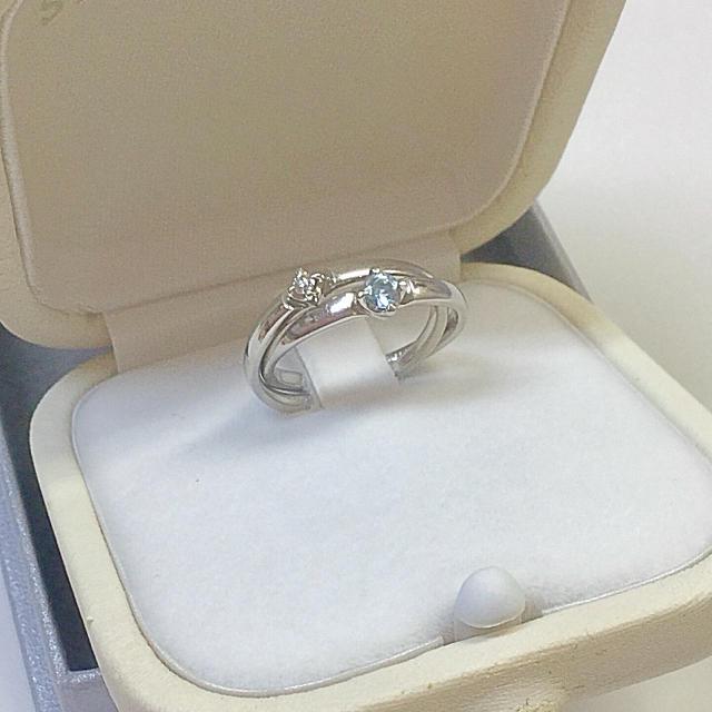 4℃(ヨンドシー)の4℃ pt950 ブルートパーズ&ダイヤ リング #6 レディースのアクセサリー(リング(指輪))の商品写真