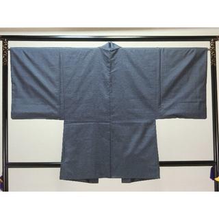 S大きいサイズ男物お仕立て上がり正絹大島紬アンサンブル 紺地に細かい柄 羽織 三(着物)
