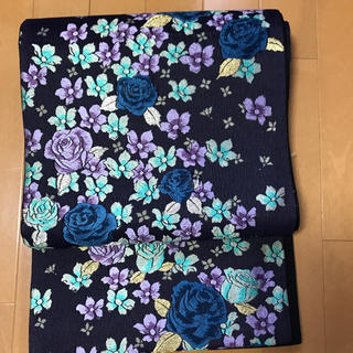 ニシジン(西陣)の西陣織り 振り袖向き 青薔薇紫薔薇が素敵な袋帯(帯)