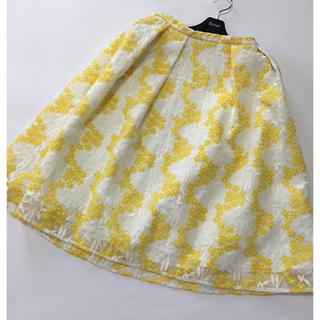 チェスティ(Chesty)のチェスティ♡フラワー刺繍スカート♡イエロー♡サイズ1(ひざ丈スカート)