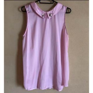 ジーユー(GU)のGU 2way ピンク ノースリーブ シースルー(シャツ/ブラウス(半袖/袖なし))