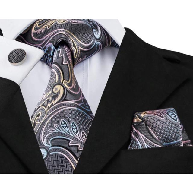 393afc3967027 高級 ネクタイ ポケットチーフ カフス 3点セット ペイズリー メンズのファッション小物(ネクタイ)