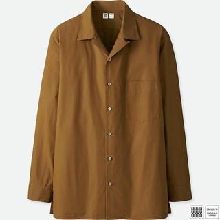 ユニクロ(UNIQLO)のユニクロ U オープンカラーシャツ ブラウン S 新品(シャツ)