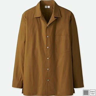 ユニクロ(UNIQLO)のユニクロ U オープンカラーシャツ ブラウン M 新品(シャツ)