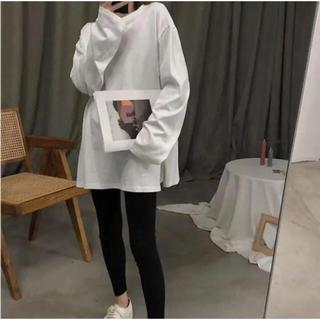 改 オーバーサイズ Tシャツ 白 ロングスリーブ ドロップショルダー(Tシャツ(長袖/七分))