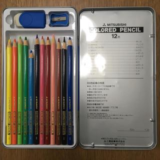 ディズニー(Disney)のミッキー色鉛筆 12色 【鉛筆削り、消しゴム付き】(色鉛筆 )
