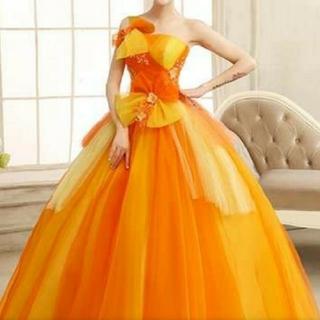 8d72267a34086 オレンジ イエロー カラードレス ウェディング 結婚式 二次会 ロングドレス(ウェディングドレス)