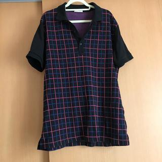 ジーユー(GU)のGU メンズ ポロシャツ チェック柄 Lサイズ(ポロシャツ)