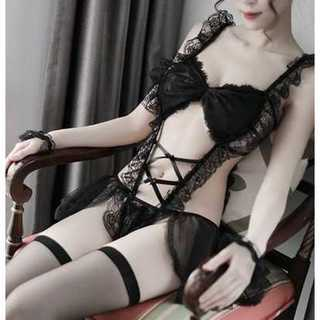 ★大人かわいい セクシー メイド 服 セット ランジェリー コスプレ 衣装 黒(衣装一式)