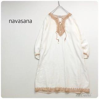 ナバアサナ(navasana)のnavasana ナバアサナ アメリカンラグシー  刺繍 スキッパー ワンピース(ひざ丈ワンピース)