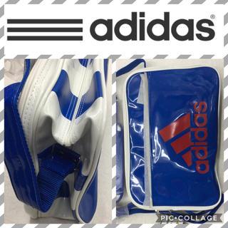 アディダス(adidas)のブルー×3ライン27L  adidasエナメルバッグ(ショルダーバッグ)