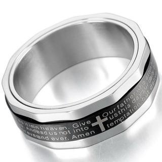 MOWOM シルバー ブラック ステンレス リング 十字架 サイズ 21(リング(指輪))
