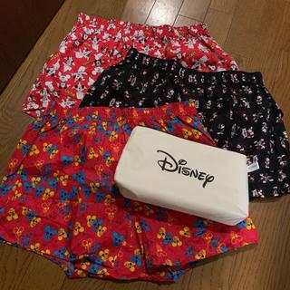 ディズニー(Disney)のミッキー柄 紳士トランクス 3枚セット LLサイズ(ポーチ付き)(トランクス)