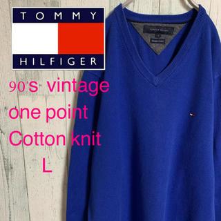 トミーヒルフィガー(TOMMY HILFIGER)の90's  TOMMY HILFIGER トミーヒルフィガー コットンニット L(ニット/セーター)