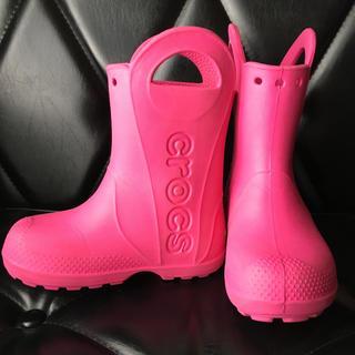 クロックス(crocs)のクロックス 長靴 17cm 18cm ピンク(長靴/レインシューズ)