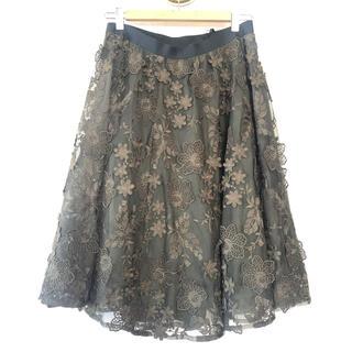 ローズティアラ(Rose Tiara)のローズティアラ  42サイズ チュールスカート カーキ色(ひざ丈スカート)