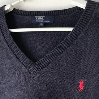ポロラルフローレン(POLO RALPH LAUREN)のラルフローレン ポロ 綿 長袖セーター 春物 紺色 色褪せあり160(ニット)