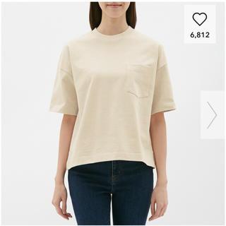 ジーユー(GU)のヘビーウェイトT(5分袖) ナチュラル Lサイズ(Tシャツ(長袖/七分))
