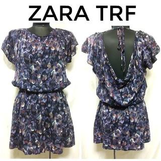 ザラ(ZARA)のザラ ZARA TRF スパンコール装飾 羽柄 チュニック ワンピース 紫 M(チュニック)