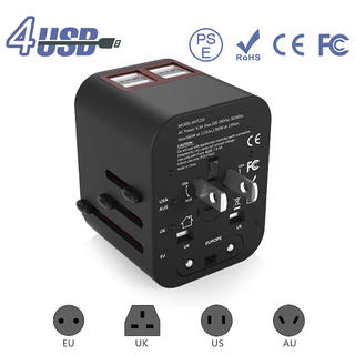 海外 変換プラグ コンセント 4USBポート 変圧器 海外旅行用マルチプラグ (変圧器/アダプター)
