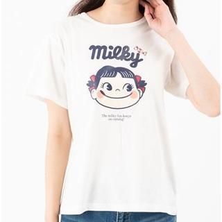 フジヤ(不二家)の不二家 ペコちゃん レディース 半袖Tシャツ 綿100% Lサイズ ホワイト 白(Tシャツ(半袖/袖なし))