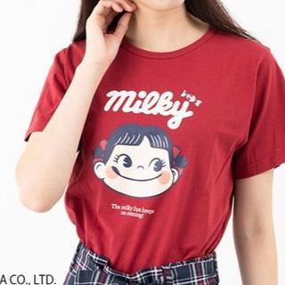 フジヤ(不二家)の不二家 ペコちゃん レディース 半袖Tシャツ 綿100% Lサイズ レッド 赤(Tシャツ(半袖/袖なし))