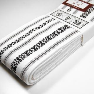 桐生帯 綿角帯 献上柄 新品 白×黒(帯)
