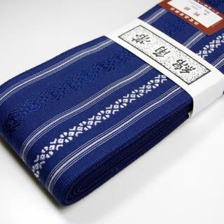 桐生帯 綿角帯 献上柄 新品 青(帯)