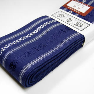 桐生帯 綿角帯 献上柄 新品 紺(帯)