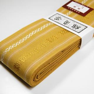桐生帯 綿角帯 献上柄 新品 カラシ(帯)