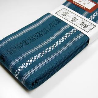 桐生帯 綿角帯 献上柄 新品 ターコイズ(帯)