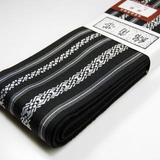 桐生帯 綿角帯 献上柄 新品 黒(帯)