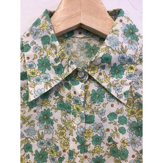 花柄 綿 シャツ ブラウス グリーン 緑 薄手 七分袖(シャツ/ブラウス(長袖/七分))