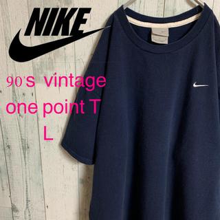 ナイキ(NIKE)の90's NIKE ナイキ ワンポイント スウォッシュ 刺繍Tシャツ L(Tシャツ/カットソー(半袖/袖なし))