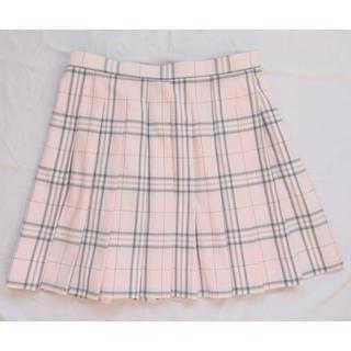 イーストボーイ(EASTBOY)の新品レア品 conomi チェックプリーツスカート ピーチ x ライトグレー(ひざ丈スカート)